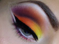 orange, yellow, brown - autumn sunset eye make up #eyeshadow #makeup