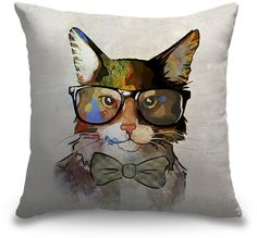 Who says cool pop art is only for your walls? Add this colorful designer throw pillow with a pop art cat wearing glasses and a bow tie to any space. See more at CanvasOnDemand.com.