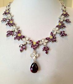 Vintage Sterling Silver Estate Jewelry Amethyst Statement Necklace. via Etsy.