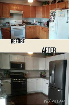 Our inexpensive kitchen remodel! Painted cabinets using Rustoleum cabinet refinishing kit in Linen, new GE slate appliances and Wilsonart HD laminate countertops in Winter Carnival. Backsplash coming soon!