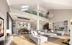 Projekt domu Willa Parkowa 4 165,77 m2 - koszt budowy - EXTRADOM Modern Bungalow House, Bungalow Renovation, Latest House Designs, Cute House, Hamptons House, Dream House Exterior, Dream Home Design, My Living Room, Home Fashion