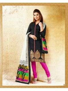Look Gorgeous In this Black Banarasi Unstitched Suit with Patch Work. It comes along with Matching Churidhar and Printed Dupatta.  Use the Coupon Code and get 15% off. Hurry!!! Today's Coupon Code: EOSSpl1 !!!   Offer Valid From 6th Jan - 9th Feb 2014.   Product Code: 2899 Price: RS.1,650.00  Shop Now : http://just4evesboutique.in/online-salwar-kameez/Striking%20Black-and-Pink-Banarasi-Designer-Suit