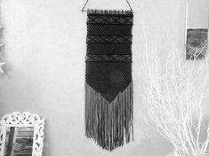 Handmade macrame wall hanging, Black White Home Decor, Love Knot, Home Decor tapestry, weaving, fiber art, textile art, gift idea