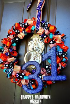 Ribbon Wreath Tutorial.  Use different ribbons for different holidays OR team colors and Initials