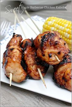 Sweet Maple Barbecue Chicken Kabobs - a touch of caramelized sweetness, this takes your traditional barbecue sauce and elevates it to a whole new level. Healthy Grilling Recipes, Grilled Steak Recipes, Kabob Recipes, Barbecue Recipes, Smoker Recipes, Rib Recipes, Recipies, Food Trucks, Barbecue Chicken