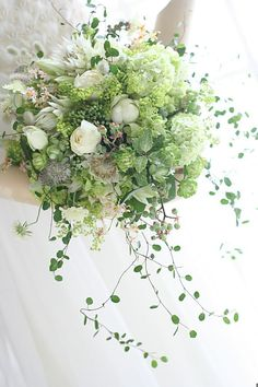Unique Bridal Bouquet Which Includes: Small White Peonies, White Tulips, Blushing Bride Protea, White Astrantia, Green Snowball Viburnum + Several Varieties Of Greenery/Foliage~~ White Wedding Bouquets, Bride Bouquets, Flower Bouquet Wedding, Bridesmaid Bouquet, Floral Wedding, Hand Bouquet, Beautiful Flower Arrangements, Wedding Arrangements, Floral Arrangements