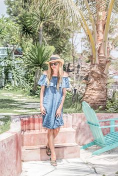 Bali Outfit summer outfit with ruffle denim off shoulder dress, panama hat and coach leopard sandals