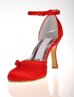 Ankle Strap Ribbon Satin Wedding Shoes