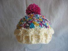 Henderson Crochet cupcake hat with pom pom top Crochet Cupcake Hat, Crochet Kids Hats, Crochet Cap, Crochet Beanie, Cute Crochet, Knitted Hats, Pom Pom Tops, Pom Pom Hat, Knitting Yarn