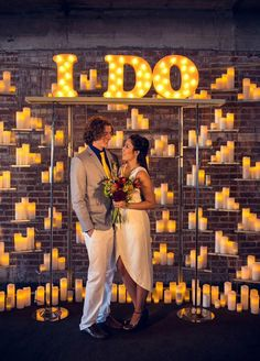 All décor aside, marquee lights can make fabulous props or backdrops for your engagement or wedding photos!