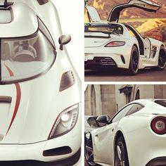 White beauties: Koenigsegg Agera R, Mercedes-Benz SLS AMG & Ferrari Berlinetta. Which one would you pick?