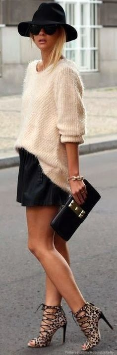 50 Stylish New Looks For Summer - Style Estate - Fuzzy cream sweater and strappy leopard shoes.