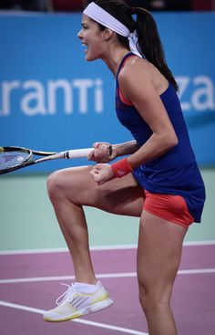 Ana Ivanovic of Serbia reacts during the semi-final tennis match against Simona Halep in the WTA Tournament of the Champions in Sofia, Bulgaria, Saturday, Nov. 2, 2013. #WTA #Ivanovic #Sofia