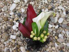 calla lily red ti leaf corsage