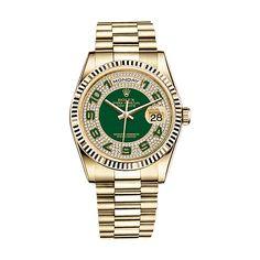 #Rolex Day-Date Gold #Watch (Green #Diamond Paved)