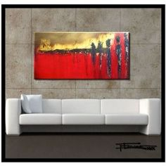 """LARGE MODERN CANVAS WALL ART - """"WAITING"""" Limited Edition, Hand Embellished, Giclee on canvas, Textured Abstract Painting 4..."""
