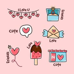 Doodle Drawings, Doodle Art, San Valentin Vector, Cute Doodles, Cute Love, Ink Art, Cute Cartoon, Planner Stickers, Valentines Day