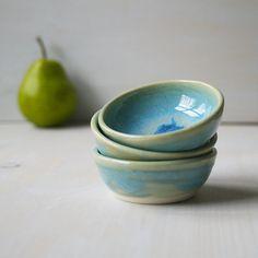 Blue Prep Bowls Sea Glass Blue Small Kitchen Bowls by sheilasart