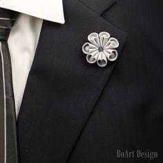 Lapel Pin/Gray Flower Lapel Pin with Swarovski Silver Night Crystal/Lapel Flower/Mens Lapel Flower/Wedding Accessories/Brooch by BoArtDesign on Etsy