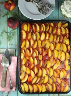 Peach Slab Pie Recipe from MissintheKitchen