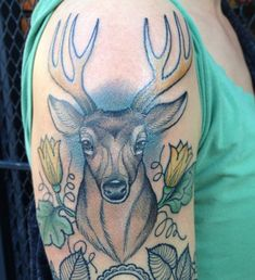 A bit more done on Katherine's deer today - 50+ Awesome Animal Tattoo Designs  <3 <3