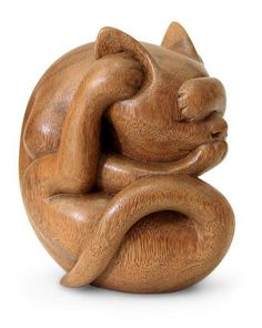Wood sculpture, 'Yogi Cat' by NOVICA