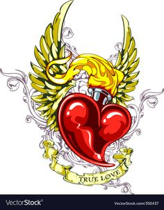 Illustration about Burning heart with wings, ribbon and flourish pattern. Illustration of clip, banner, - 17866833 Tattoos Skull, Sleeve Tattoos, Cover Up Tattoos, Tattoo Drawings, Sagrado Corazon Tattoo, Alphabet Symbols, Sketch Tattoo Design, Heart With Wings, Heart Tattoo Designs