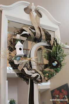 Spring Bird's Nest Wreath Tutorial  Using a Simple Grapevine Wreath by My Life From Home www.mylifefromhome.com