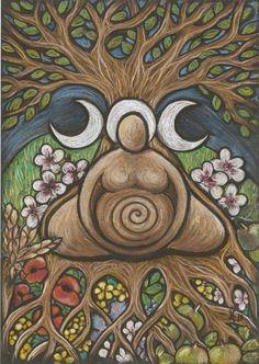 Goddess Art by Jan Fowler Divine Mother, Mother Goddess, Éphémères Vintage, Birth Art, Triple Moon Goddess, Pagan Art, Goddess Art, Earth Goddess, Sacred Feminine