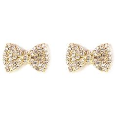 Rhinestone Bow Stud Earrings found on Polyvore