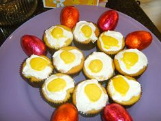 "For ""fried egg"" cupcakes, melt yellow starburst candies in the microwave for 10 or 12 seconds and mold to desired shape."