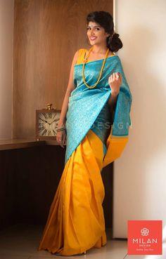 Banaras Saree from Milan Design Kochi #MilanDesignKochi #DesignerSaree #KancheepuramSaree #Kerala #Kochi #India Indian Silk Sarees, Indian Beauty Saree, Indian Attire, Indian Wear, Wedding Saree Collection, Silk Saree Kanchipuram, Wedding Silk Saree, Saree Dress, Sari Blouse