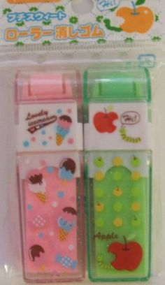Japanese Kawaii Pink Ice Cream Cone and Green Apple Roller Erasers Set . $6.00. Japanese Kawaii Pink Ice Cream Cone and Green Apple Roller Erasers Set. Each roller eraser is is 2.75 inches tall.