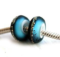 Aqua blue and black Glass bracelet beads by MayaHoneyJewelry