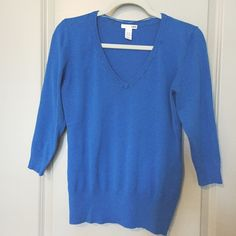 Blue V-neck sweater Blue, v-neck, 3/4 sleeve sweater. H&M Sweaters V-Necks