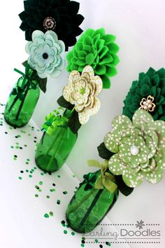 DIY St Patrick's Day decoration from   Schweppes ginger ale bottles