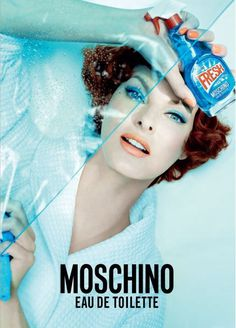 Linda Evangelista for Moschino Fresh Couture eau de toilette by Steven Meisel 2015 Perfume Glamour, Couture Perfume, Blue Perfume, Perfume Bottle, Linda Evangelista, Steven Meisel, Fashion Advertising, Advertising Campaign, Packaging
