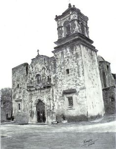 Pencil Drawing of the San Juan Mission in San Antonio.
