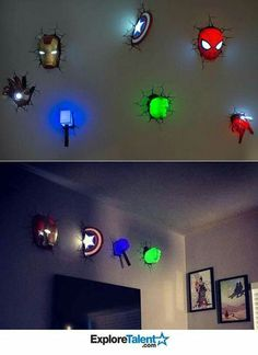 Avengers night lights room room home decor lighting room decor room decor wall office decor ideas decoration design room Cool Bedrooms For Boys, Boys Bedroom Decor, Boys Superhero Bedroom, Bedroom Furniture, Furniture Ideas, Kids Bedroom Boys, Kids Rooms, Marvel Bedroom Decor, Boys Room Ideas