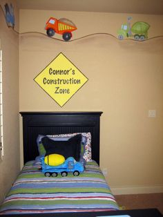Construction decor for boys room construction zone - boys' r Construction Zone Signs, Boys Construction Room, Big Boy Bedrooms, Baby Boy Rooms, Baby Room, Kids Bedroom Paint, Boys Bedroom Decor, Bedroom Ideas, Digger Bedroom
