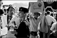 Apartheid SA. Black workers at a wine-tasting party, 1984.