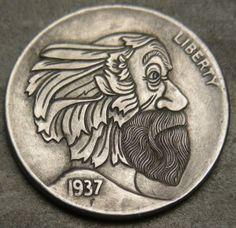 Steve Cox - Green Hobo Hobo Nickel, Coin Art, Sculpture Art, Buffalo, Coins, Carving, Button, Green, Rooms
