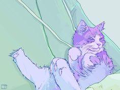 Cloud The Cat | By Phazed [Illustration - Digital - Trippy - Kitten]