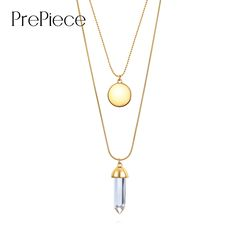 PrePiece new women double layer alloy long necklace pendant with disc glass plating gold brand designer 2017 summer style PN0035