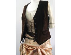 Brown Vintage Velvet Vest - Pirate / Victorian / Steampunk Mens or Womens Costume. $60.00, via Etsy.