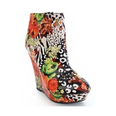 Fourever\ Funky Floral Zebra Printed Ankle Wedges Booties Platform ($25) ❤ liked on Polyvore
