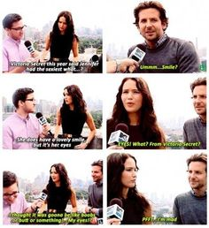Jennifer Lawrence at her best..interviewer can't contain his laughter, priceless!