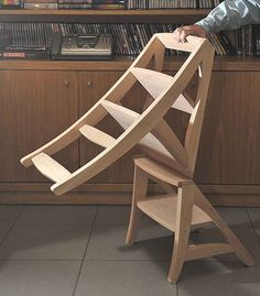 The pin from which I grabbed this chair/ladder combo points to a site that no longer hosts the information. However, I can't help but love the design.  Flipped towards the right and it's a chair, flipped opposite, it's a step ladder. Nice.