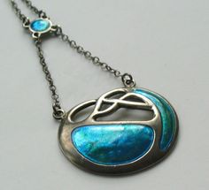 STUNNING SILVER AND ENAMEL ART NOUVEAU PENDANT - CHARLES HORNER