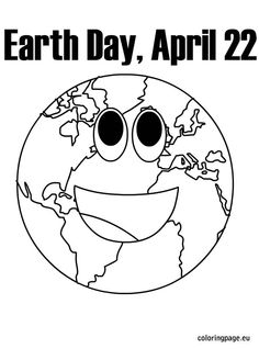 Earth Time is April 22 Free color printables pages, clipart and ecards
